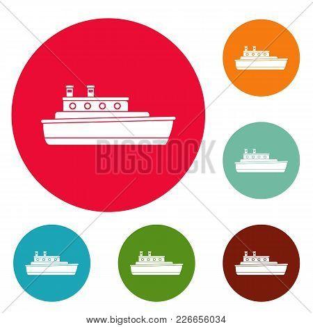 Ship Travel Icons Circle Set Vector Isolated On White Background
