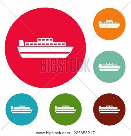 Ship Travel Cruise Icons Circle Set Vector Isolated On White Background