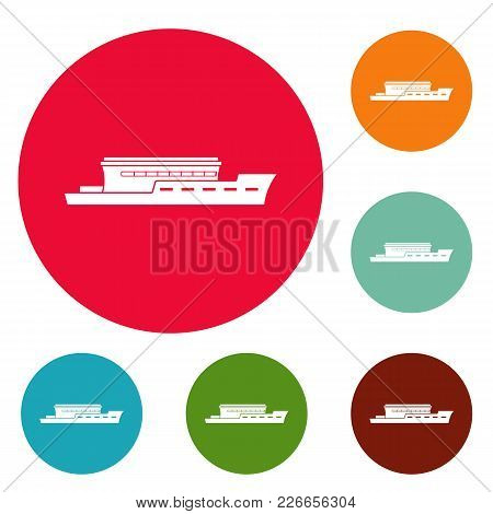 Ship River Icons Circle Set Vector Isolated On White Background