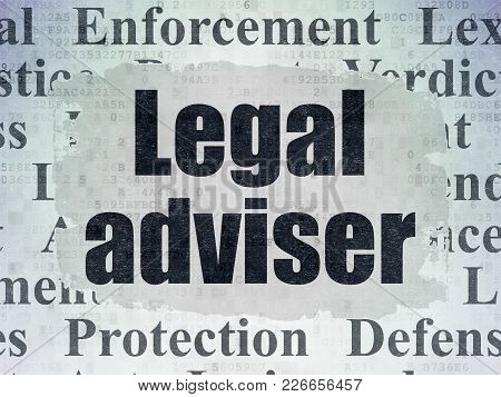 Law Concept: Painted Black Text Legal Adviser On Digital Data Paper Background With   Tag Cloud