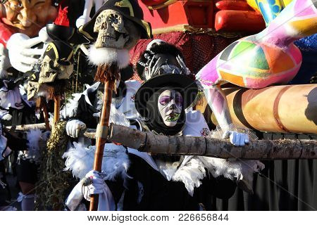 Aalst, Belgium, 12 February 2018: Unknown Aalst Carnival Participants Celebrate During The Annual St