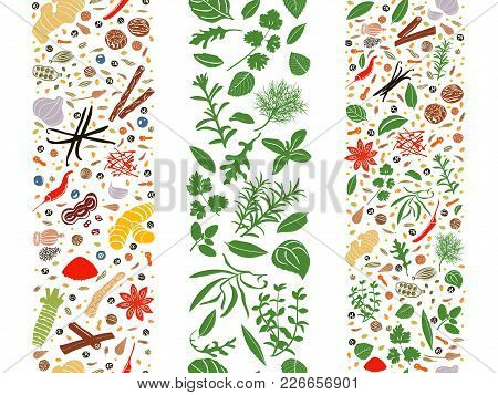 Popular Cooking Herbs And Spices Set Organized In Three Ribbons. Culinary Seasonings Flat Poster. De