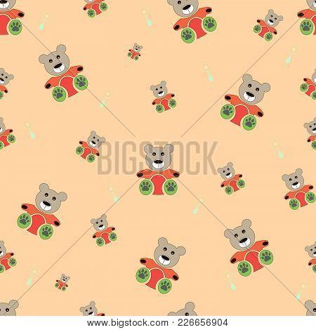 Teddy Bear Seamless Pattern. Bear Doll Seamless Pattern