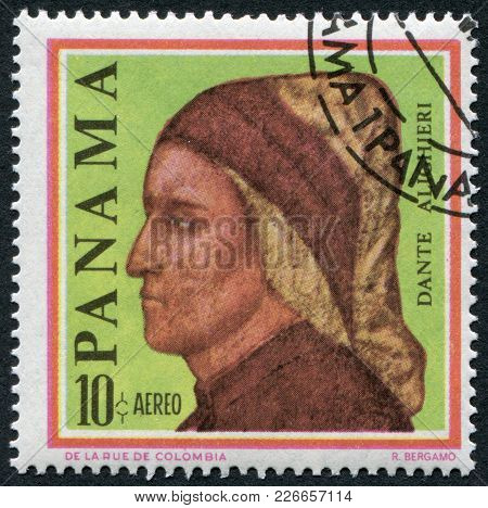Panama - Circa 1966: Postage Stamps Printed In Panama, Shows An Italian Writer, Poet, Dante Alighier