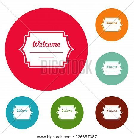 Well Met Label Icons Circle Set Vector Isolated On White Background