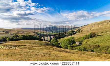 Dent Head Viaduct And Clouds, Yorkshire Dales Near Cowgill, North Yorkshire, Uk