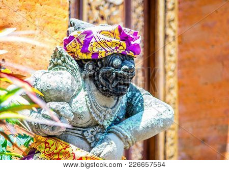 A Close Up Shot Of A Traditional And Unique Balinese Statue