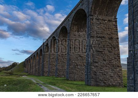 Ribblehead Viaduct In The Evening, Near Ingleton, Yorkshire Dales, North Yorkshire, England, Uk