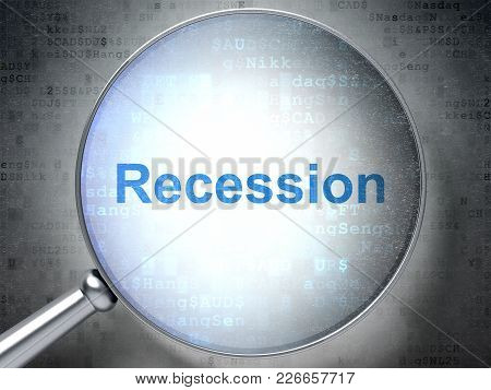 Business Concept: Magnifying Optical Glass With Words Recession On Digital Background, 3d Rendering