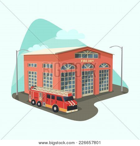 Fire Department Or Dept, Firehouse With Truck Or Rescue Car, Emergency Transport Or Safety Vehicle.