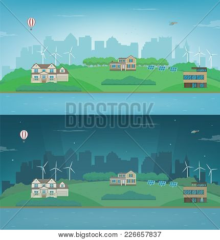 Day And Night Suburban Landscape. Cityscape Template With Suburban Houses. Building Architecture, Ci