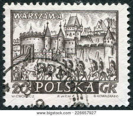 Poland - Circa 1960: A Stamp Printed In The Poland, Shows Fortifications (barbican), Warsaw, Circa 1