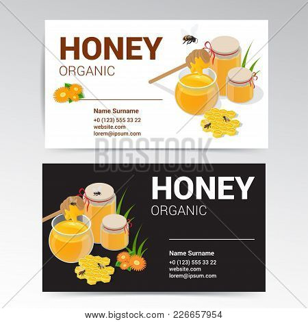 Vector Organic Honey Business Card Template White And Black Design. Modern Simple Light Business Car
