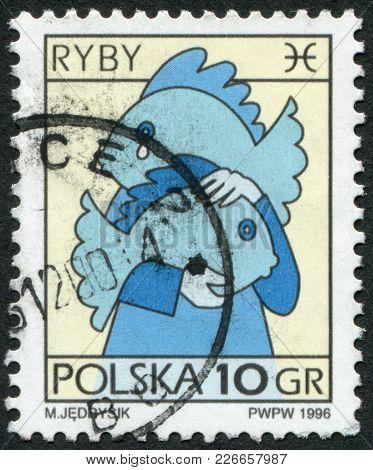 Poland - Circa 1996: A Stamp Printed In The Poland, Shows A Sign Of The Zodiac, Pisces, Circa 1996