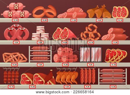 Butcher Shop Showcase With Prices. Meat Product Store Or Market Stand Or Stall With Sausage And Catt
