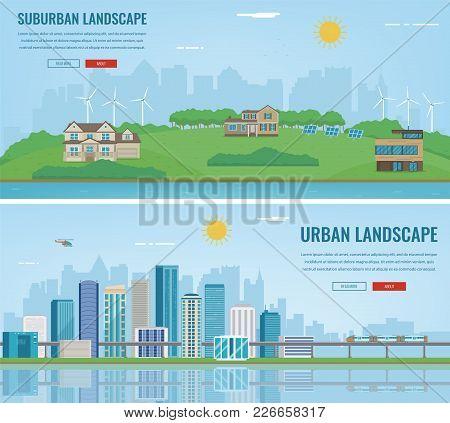 City Landscape And Suburban Landscape. Building Architecture, Cityscape Town. Modern City And Suburb