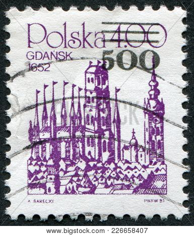 Poland - Circa 1981: A Stamp Printed In The Polish, Is Depicted Gdansk (danzig) In 1652, Copper Engr