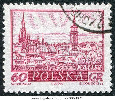 Poland - Circa 1960: A Stamp Printed In The Poland, The General View Of Kalisz, Circa 1960