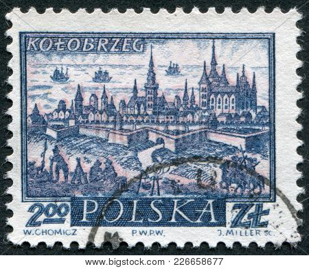 Poland - Circa 1960: A Stamp Printed In The Poland, The General View Of Kolobrzeg (kolberg), 18th Ce