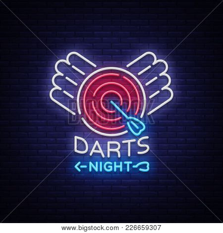 Darts Neon Sign. Vector Illustration. Bright Nightly Darts Advertising, Neon Logo, Symbol, Lightweig