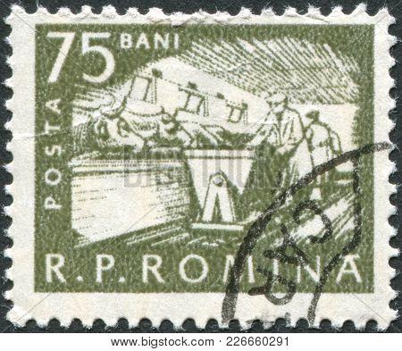 Romania - Circa 1960: A Stamp Printed In The Romania, Shows The Cattle Feeding, Circa 1960
