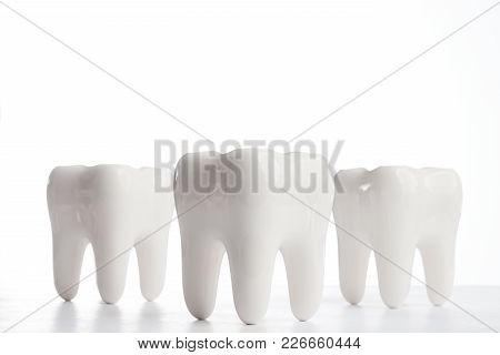 Dental Health Concept. White Teeth Over White Background. Oral Dental Hygiene. Teeth Whitening. Oral