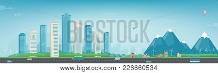 City Landscape And Suburban Landscape. Building Architecture, Cityscape Town. Modern City And Suburb