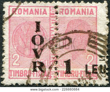 Romania - Circa 1931: A Stamp Printed In The Romania, Postage Due Stamps (overprint Iovr), Circa 193