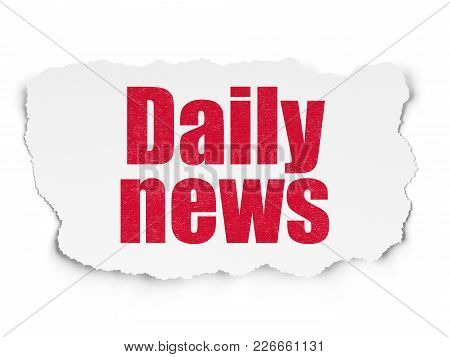 News Concept: Painted Red Text Daily News On Torn Paper Background With  Hand Drawn News Icons