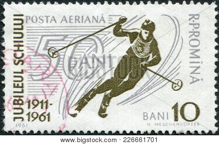 Romania - Circa 1961: A Stamp Printed In The Romania, Dedicated To 50th Anniversary Ski Community Is
