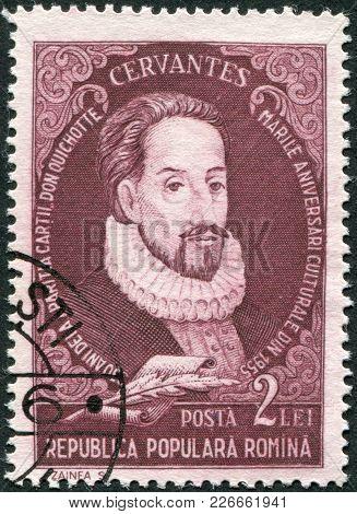 Romania - Circa 1982: A Stamp Printed In The Romania, Shows The Miguel De Cervantes Saavedra, Circa