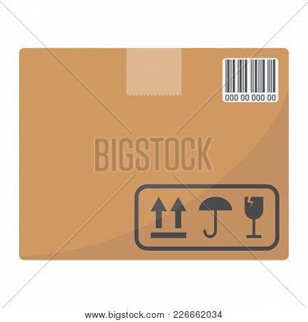 Carton Box Flat Icon, Logistic And Delivery, Cardboard Box Sign Vector Graphics, A Colorful Solid Pa