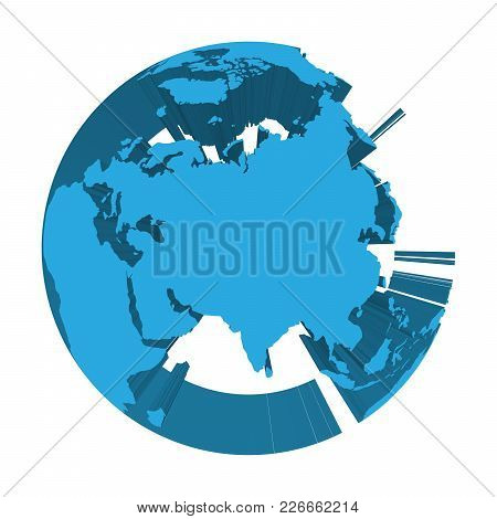Earth Globe Model With Blue Extruded Lands. Focused On Asia. 3d Vector Illustration.