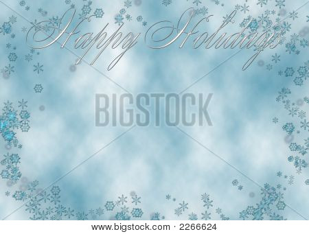Elegant And Classic Christmas Greeting On Blue Clouds With Snowflakes To Use For Greeting Or Ad.