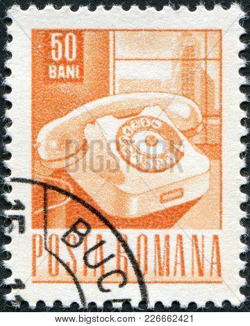 Romania - Circa 1968: A Stamp Printed In The Romania, Shows The Rotary Telephone, Circa 1968