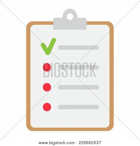 Checklist Flat Icon, Clipboard And Note, Checkmark Sign Vector Graphics, A Colorful Solid Pattern On