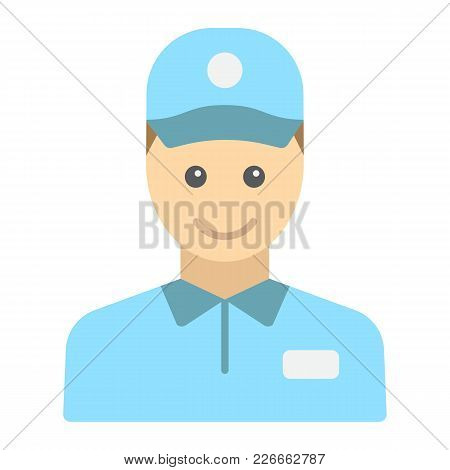 Delivery Man Flat Icon, Logistic And Delivery, Courier Sign Vector Graphics, A Colorful Solid Patter