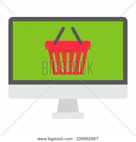 Online Shopping Flat Icon, Basket And Pc, E Commerce Sign Vector Graphics, A Colorful Solid Pattern
