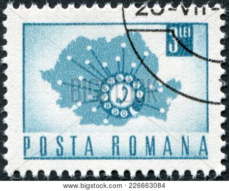 Romania - Circa 1967: A Stamp Printed In The Romania, Shows A Map Showing Telephone Network, Circa 1