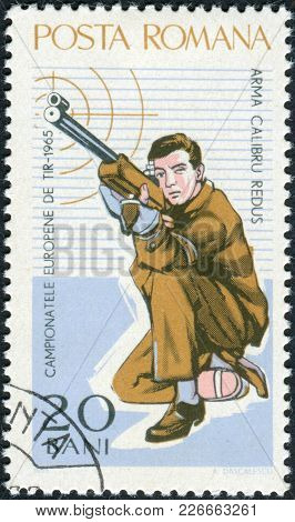Romania - Circa 1965: A Stamp Printed In The Romania, Dedicated To The European Championship By Shoo