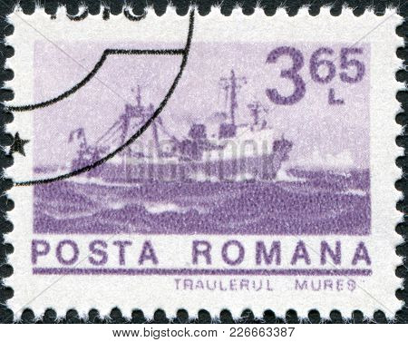 Romania - Circa 1974: A Stamp Printed In The Romania, Depicts Trawler Mures, Circa 1974