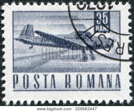 Romania - Circa 1968: A Stamp Printed In The Romania, Shows Courier Plane, Circa 1968