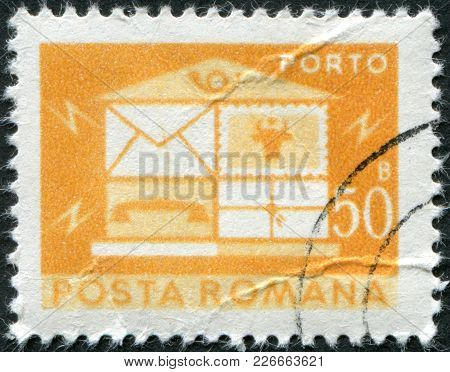 Romania - Circa 1982: A Stamp Printed In The Romania, Depicts The Postal Horn And Postal Car, Circa