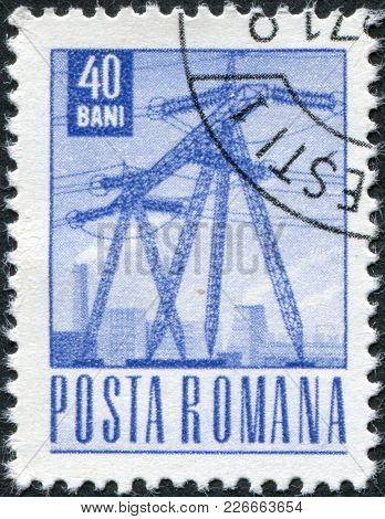 Romania - Circa 1969: A Stamp Printed In The Romania, Shows A High-voltage Power Line, Circa 1969