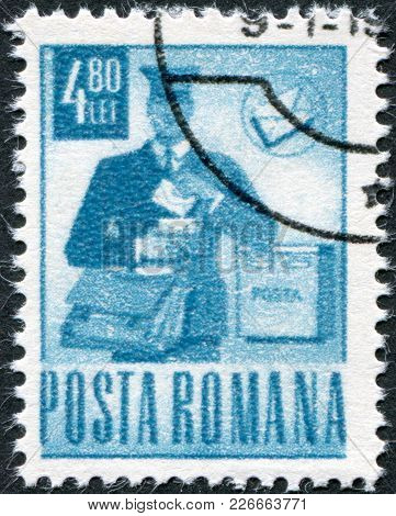 Romania - Circa 1971: A Stamp Printed In The Romania, Shows The Mailman, Circa 1971