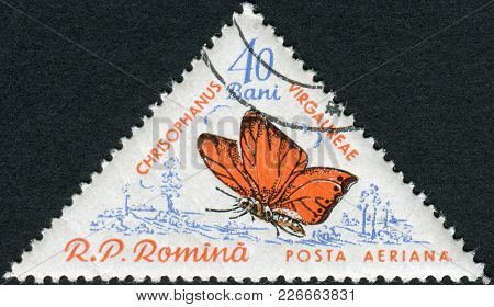 Romania - Circa 1960: A Stamp Printed In The Romania, Shows A Butterfly Satyrium (chrysophanus Virga