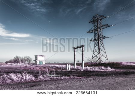 Transformer Substation And Electric Tower In Infrared Colors.