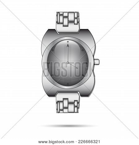 Icon Gray Wristwatch On A White Background