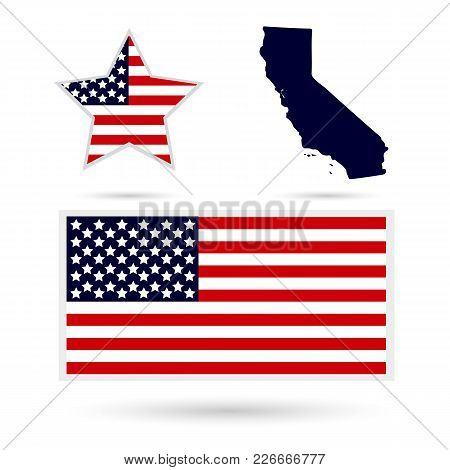 Map Of The U.s. State Of California On A White Background. American Flag, Star.