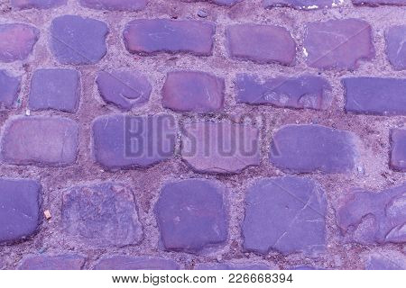 Texture Ancient Cobblestone Roadway Close-up Violet Color